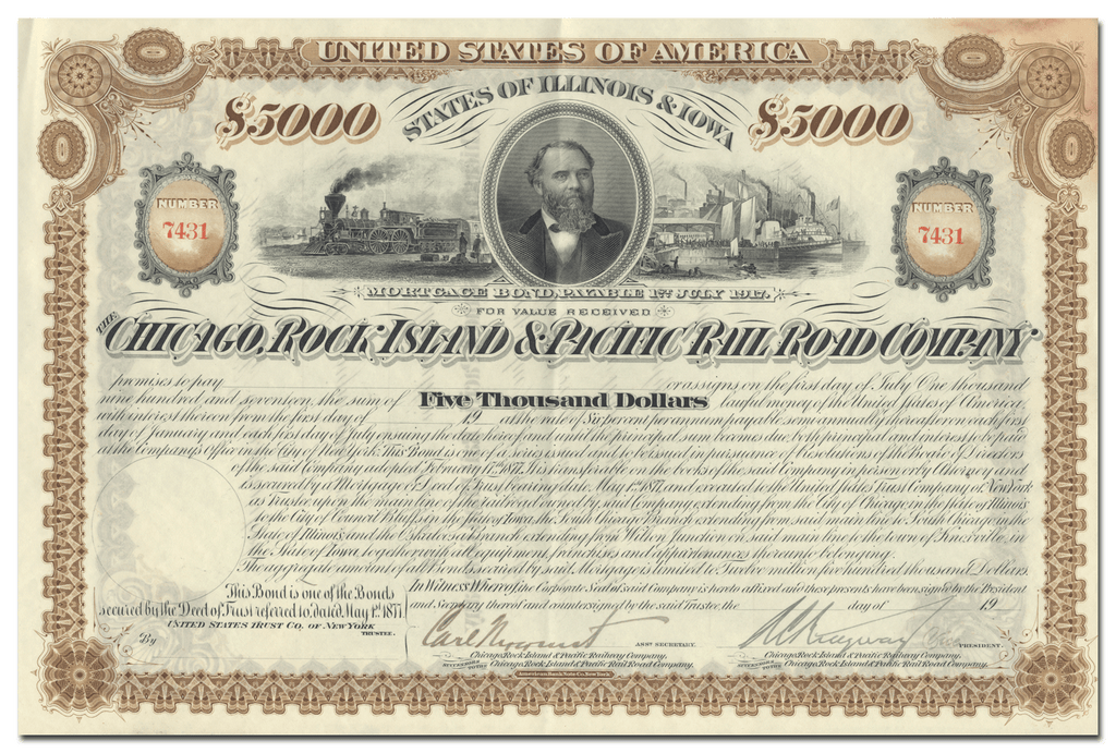 Chicago, Rock Island and Pacific Rail Road Company Stock Certificate