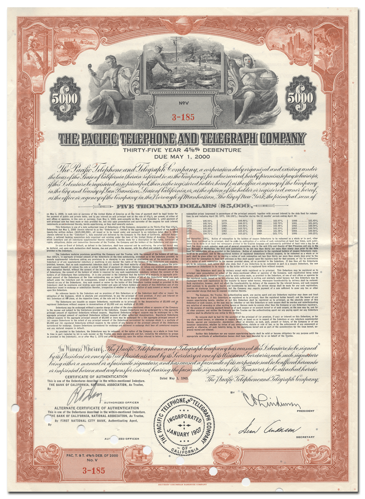 Pacific Telephone and Telegraph Company Bond Certificate