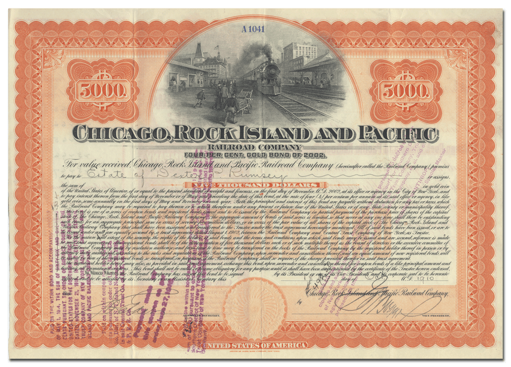 Chicago, Rock Island and Pacific Railroad Company Bond Certificate