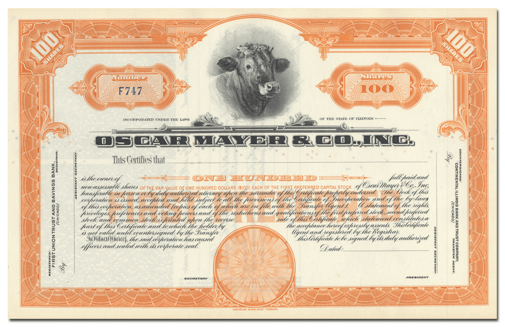 Oscar Mayer & Co., Inc. Stock Certificate