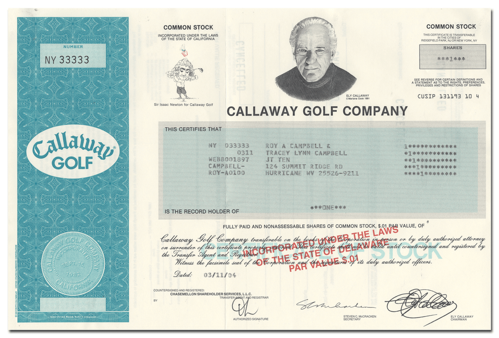 Callaway Golf Company Stock Certificate