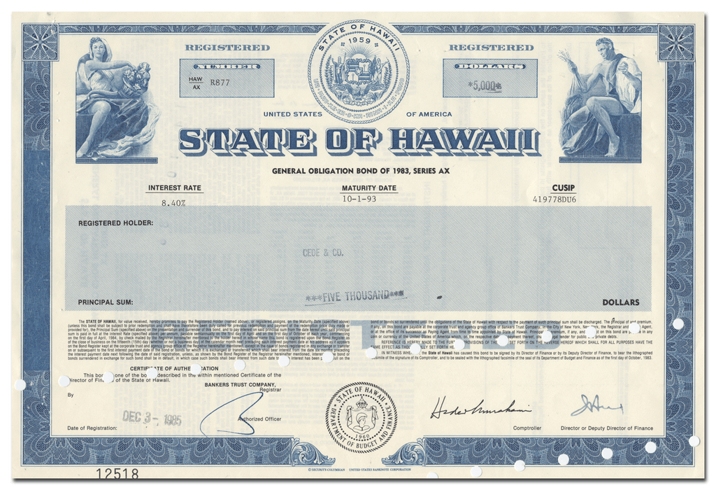 State of Hawaii Bond Certificate