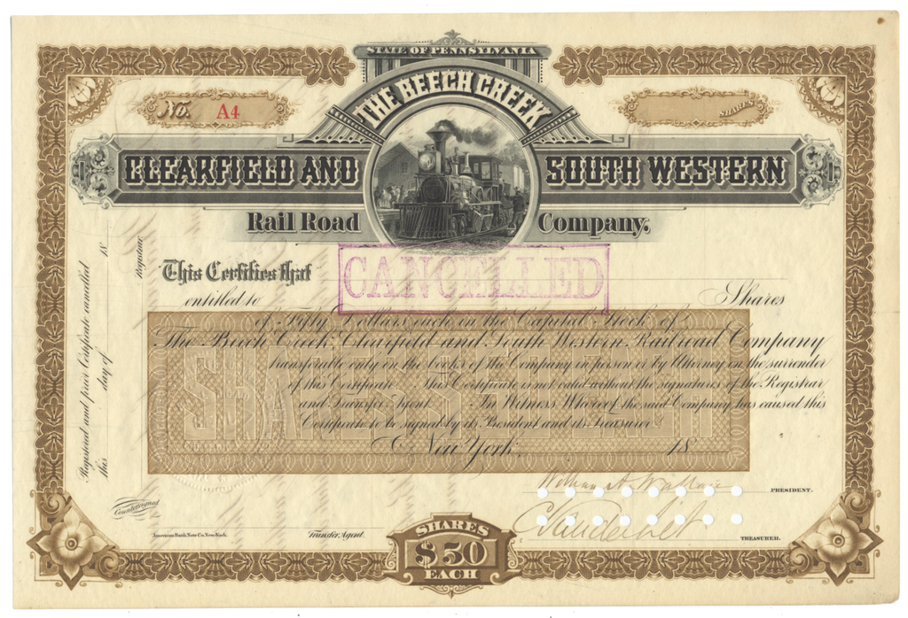 Beech Creek, Clearfield and South Western Rail Road Company Stock Certificate Signed by Cornelius Vanderbilt