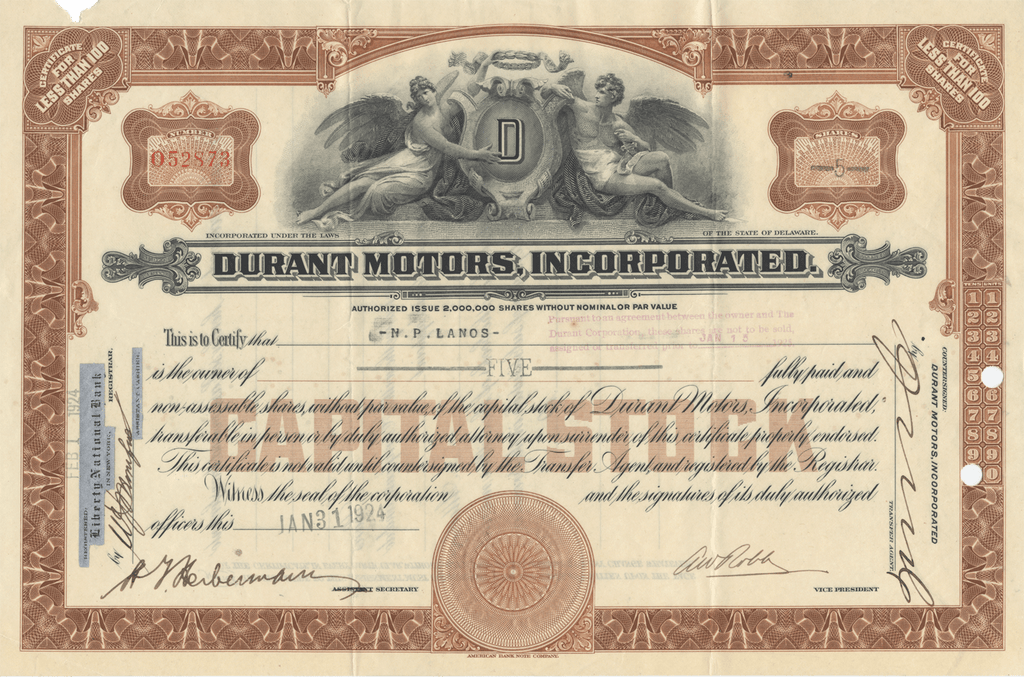 Durant Motors, Incorporated Stock Certificate