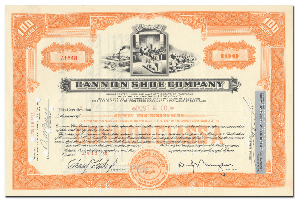 Cannon Shoe Company Stock Certificate