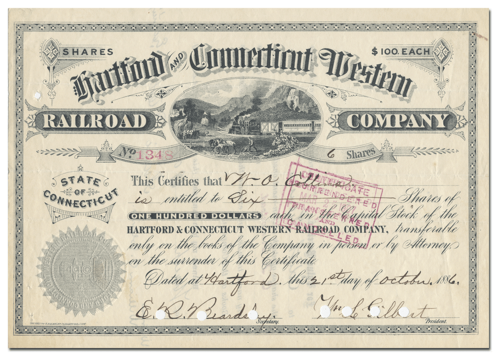 Hartford and Connecticut Western Railroad Company Stock Certificate