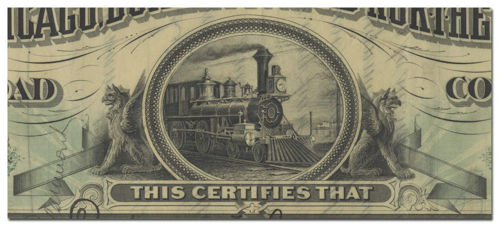 Chicago, Burlington and Northern Railroad Company Stock Certificate Signed by John Murray Forbes