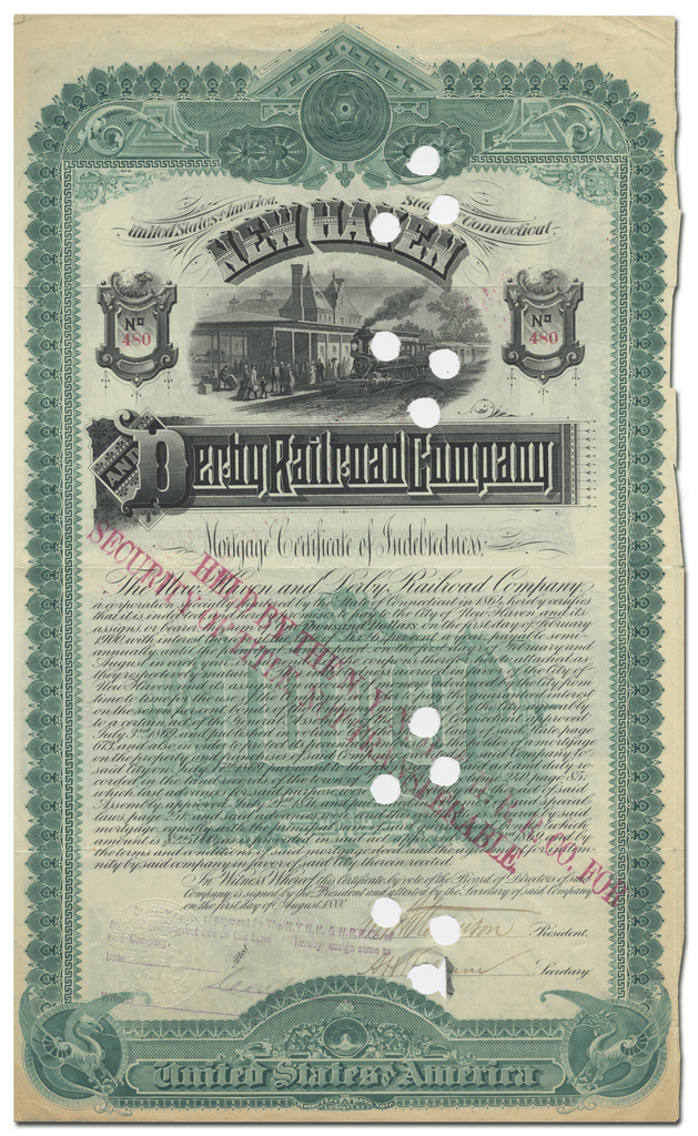 New Haven and Derby Railroad Company Bond Certificate