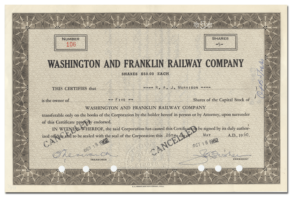 Washington and Franklin Railway Company Stock Certificate