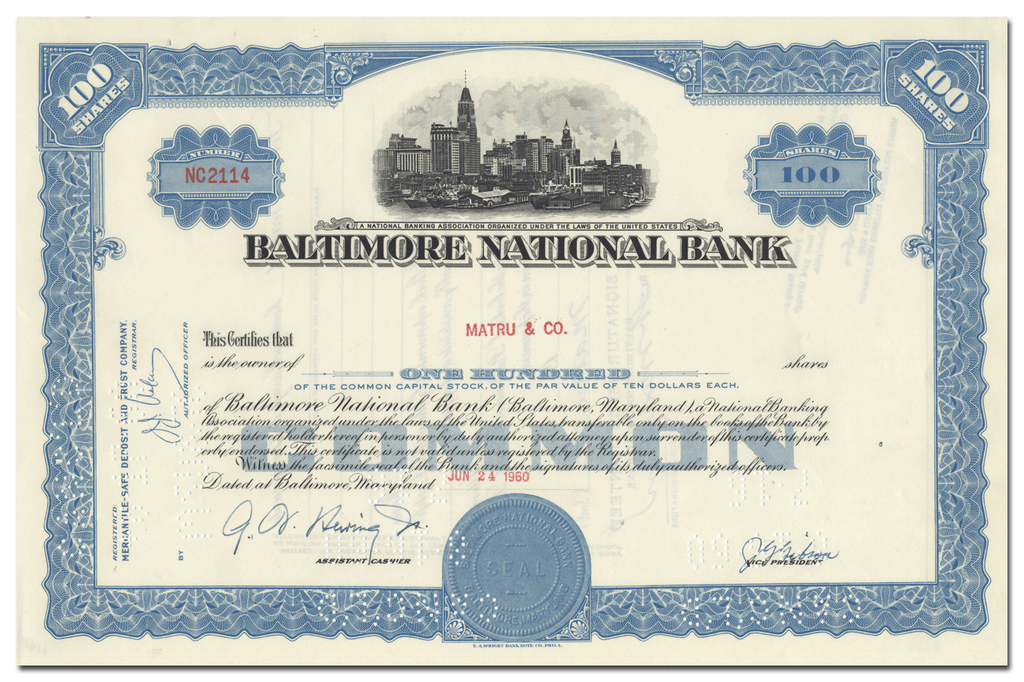 Baltimore National Bank Stock Certificate
