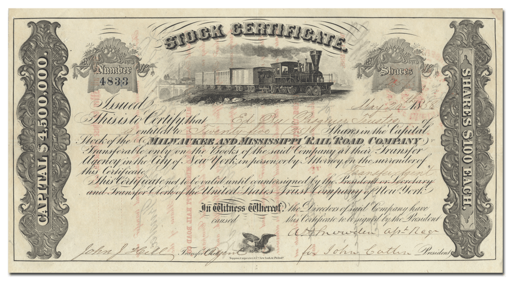 Milwaukee and Mississippi Rail Road Company Stock Certificate