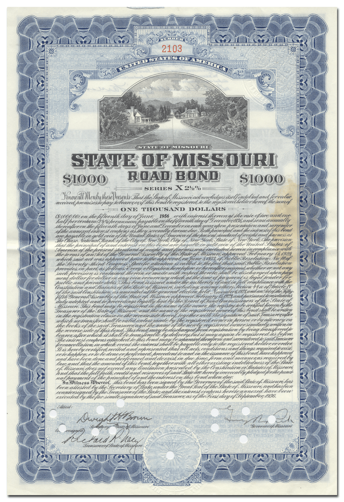 State of Missouri Bond Certificate Signed by Governor Henry Caulfield