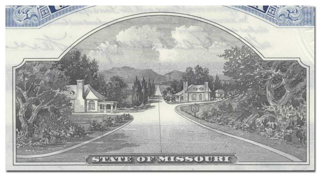 State of Missouri Bond Certificate Signed by Governor Guy Brasfield Park