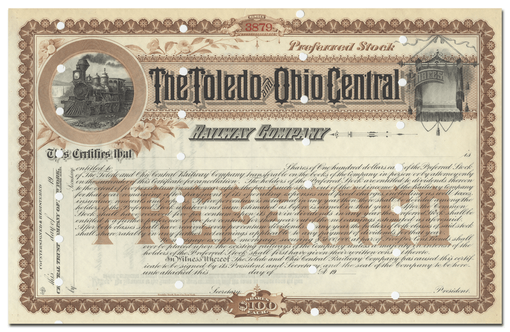 Toledo and Ohio Central Railway Company Stock Certificate