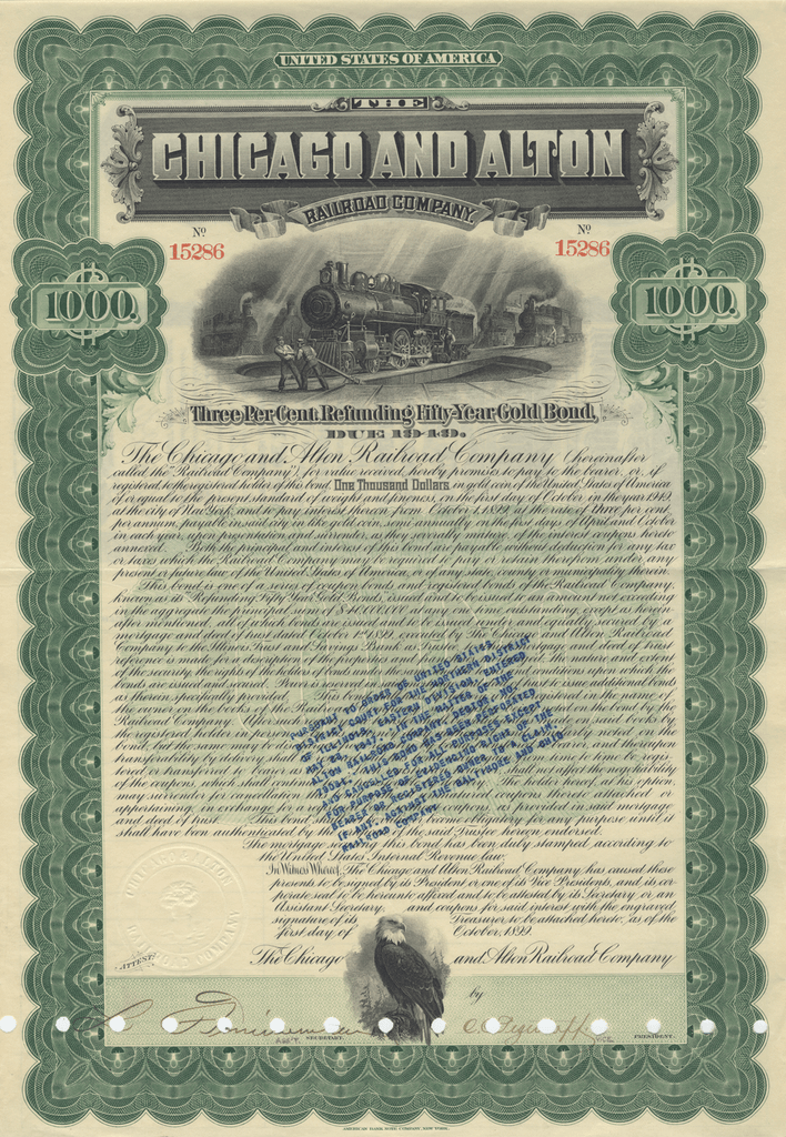Chicago and Alton Railroad Company Bond Certificate