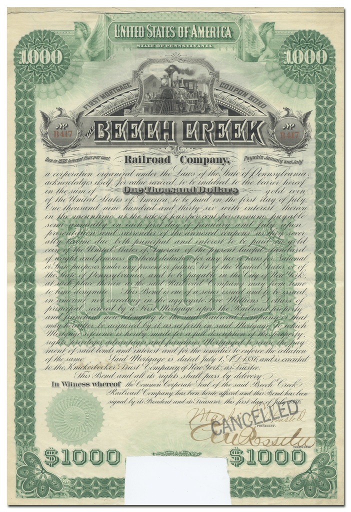 Beech Creek Railroad Company Bond Certificate