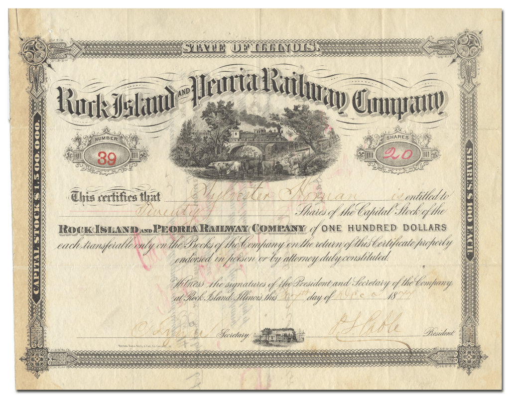 Rock Island and Peoria Railway Company Stock Certificate