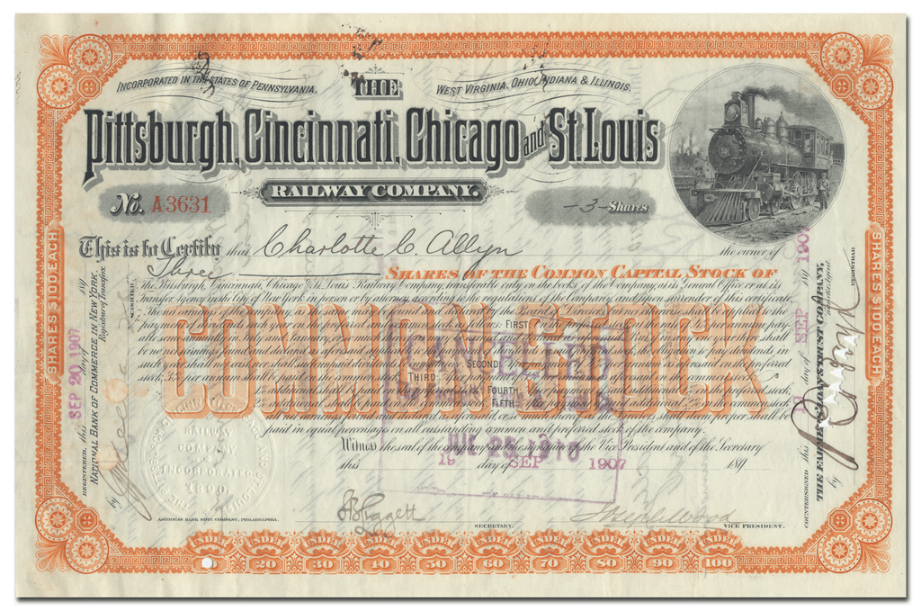 Pittsburgh, Cincinnati, Chicago and St. Louis Railway Company Stock Certificate