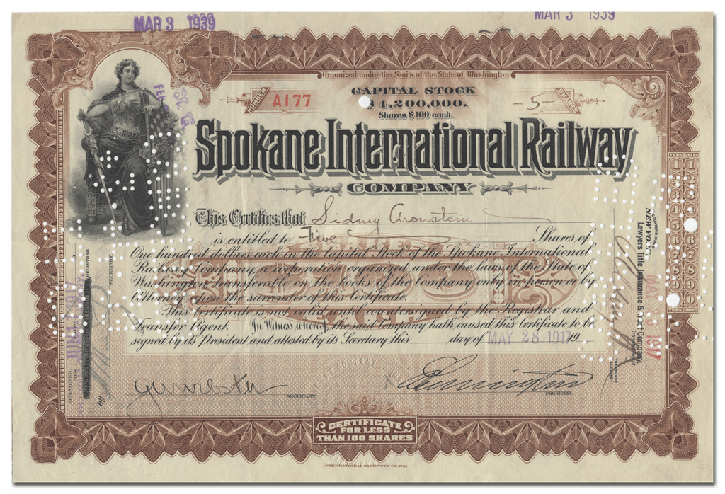 Spokane International Railway Company Stock Certificate