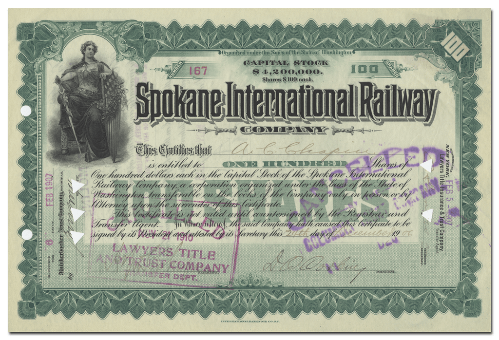 Spokane International Railway Company Stock Certificate (Signed by Daniel Chase Corbin)