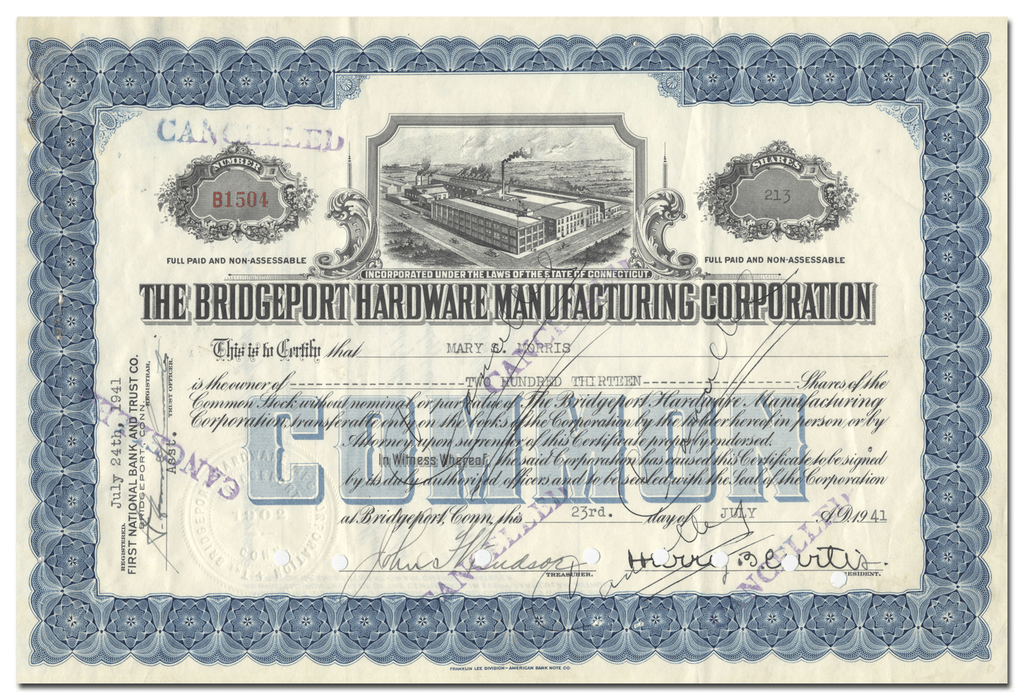 Bridgeport Hardware Manufacturing Corporation Stock Certificate
