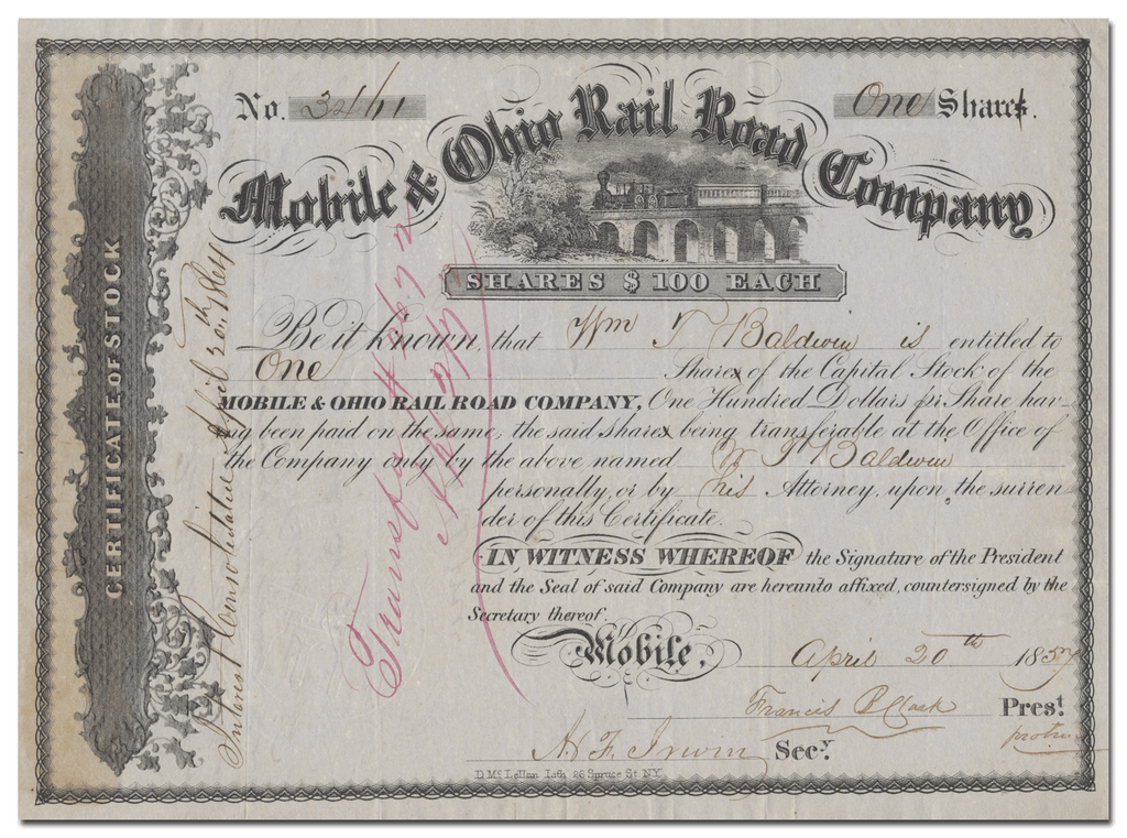 Mobile & Ohio Rail Road Company Stock Certificate