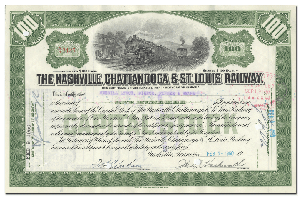 Nashville, Chattanooga & St. Louis Railway Company Stock Certificate