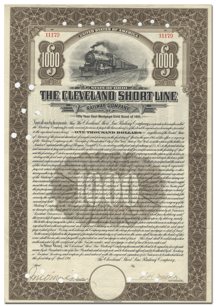 Cleveland Short Line Railway Company Bond Certificate