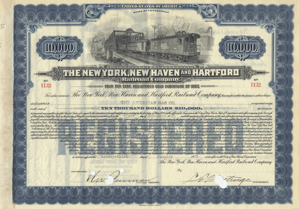 New York, New Haven and Hartford Railroad Company Bond Certificate
