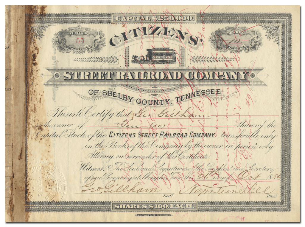Citizens' Street Railroad Company of Shelby County, Tennessee Stock Certificate