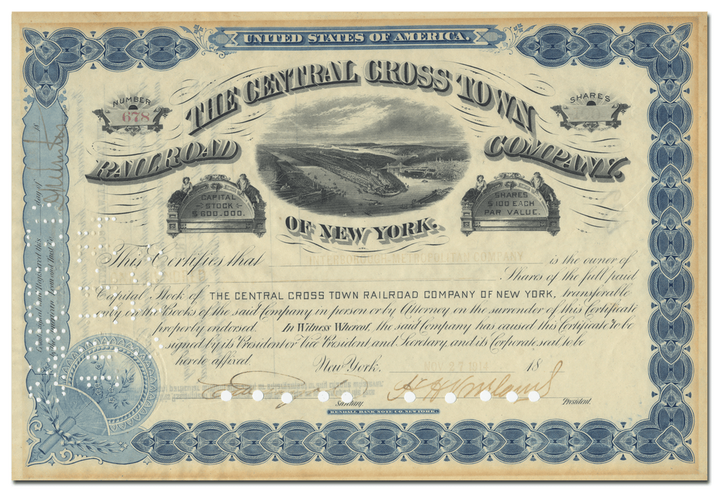 Central Cross Town Railroad Company Stock Certificate