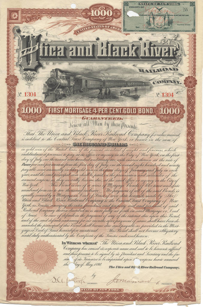 Utica and Black River Railroad Company Bond Certificate
