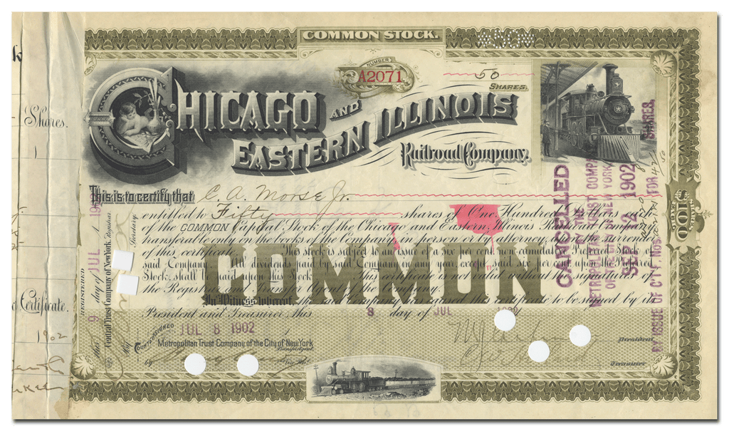 Chicago and Eastern Illinois Railroad Company Stock Certificate