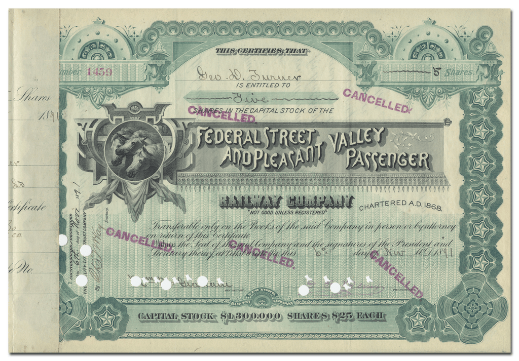 Federal Street and Pleasant Valley Passenger Railway Company Stock Certificate