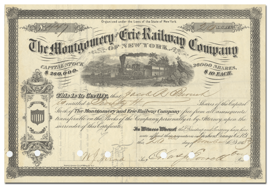 Montgomery and Erie Railway Company Stock Certificate