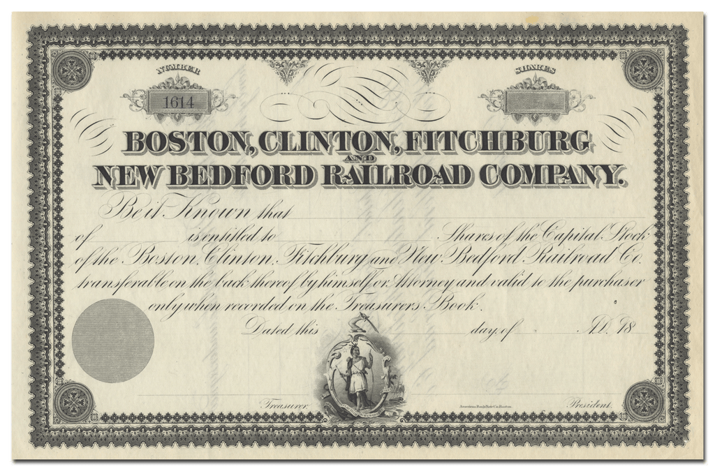 Boston, Clinton, Fitchburg and New Bedford Railroad Company Stock Certificate