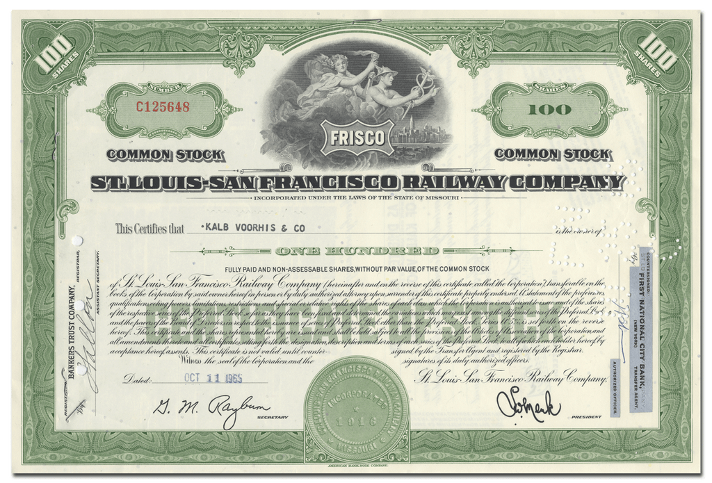 St. Louis - San Francisco Railway Company Stock Certificate