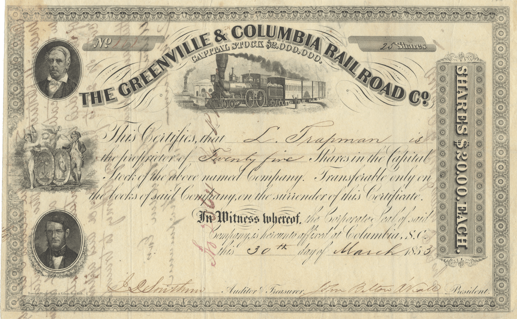 Greenville & Columbia Rail Road Co. Stock Certificate