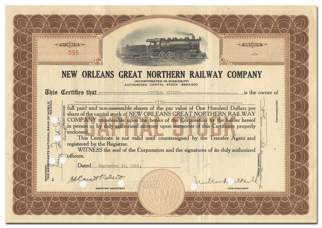 New Orleans Great Northern Railway Company Stock Certificate
