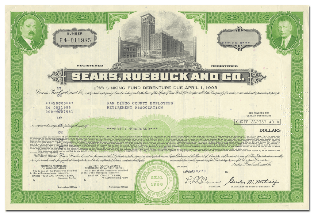 Sears, Roebuck and Co. Bond Certificate