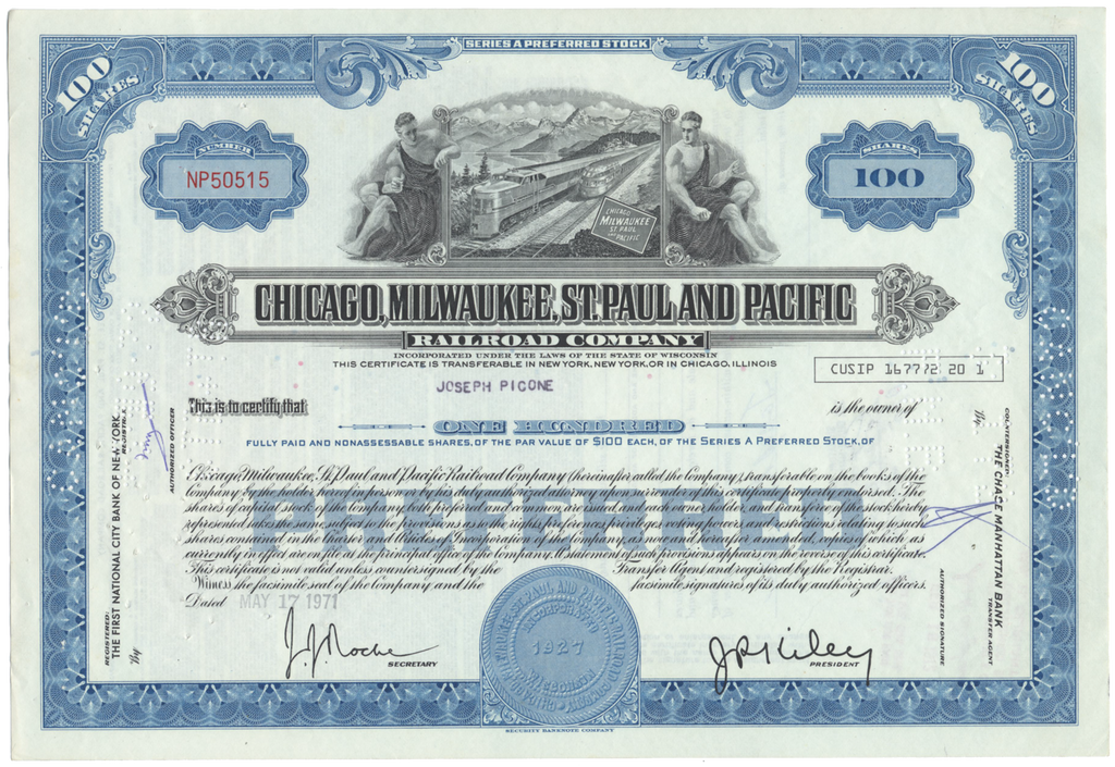 Chicago, Milwaukee, St. Paul and Pacific Railroad Company Stock Certificate
