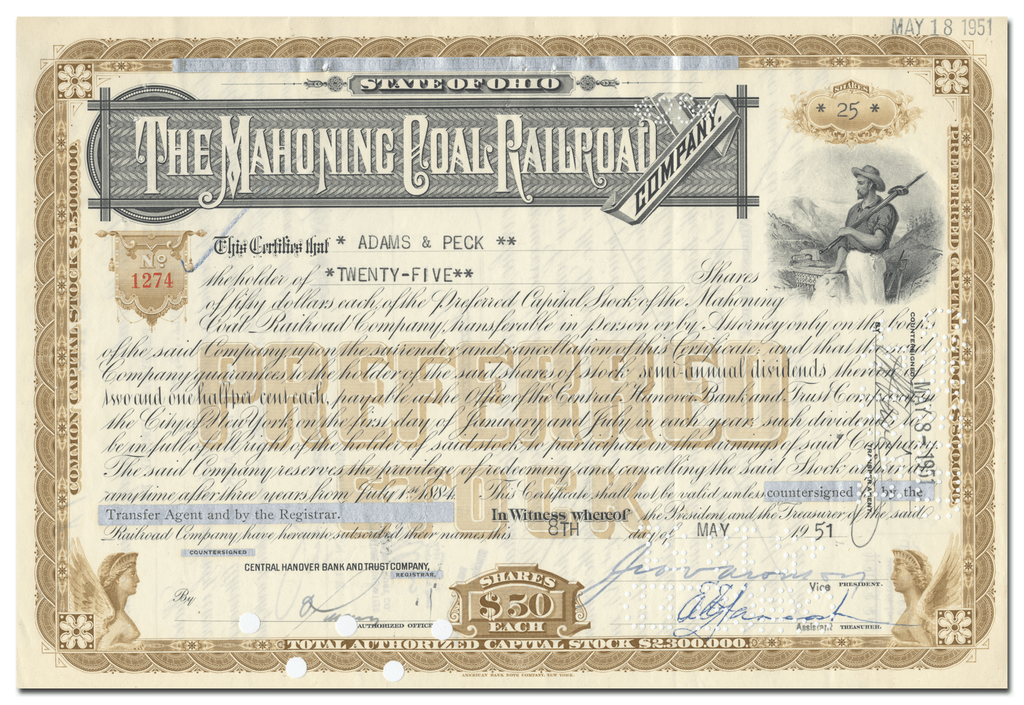 Mahoning Coal Railroad Company Stock Certificate