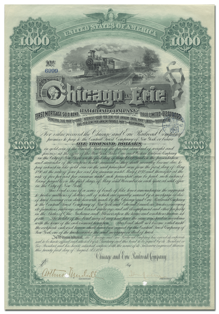 Chicago and Erie Railroad Company Bond Certificate