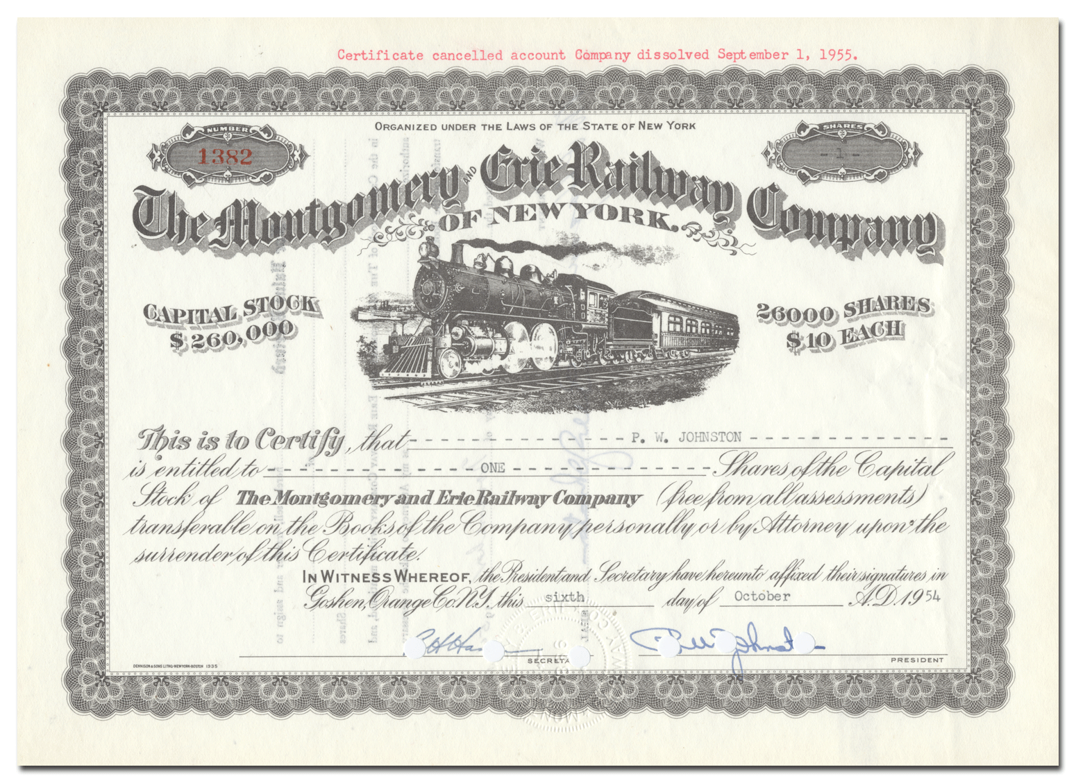 Montgomery /& Erie Railway Company of New York Stock Certificate Railroad