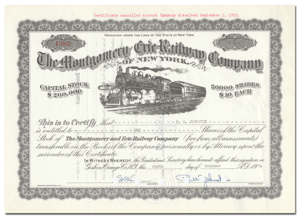 Montgomery and Erie Railway Company of New York Stock Certificate