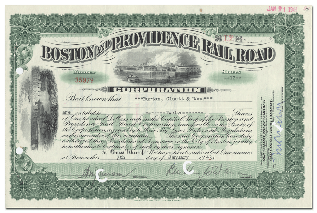 Boston and Providence Rail Road Corporation Stock Certificate