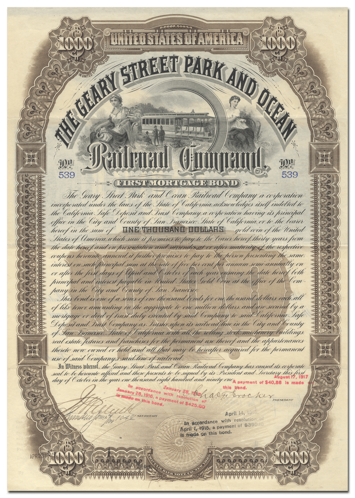 Geary Street Park and Ocean Railroad Company Signed by Charles Crocker