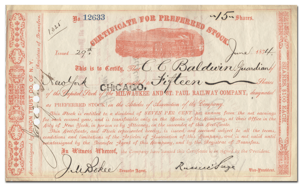 Chicago, Milwaukee and St. Paul Railway Company Stock Certificate Signed by Russell Sage