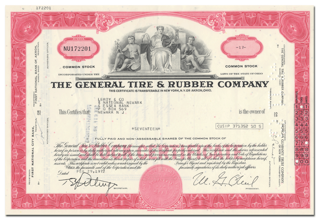 General Tire & Rubber Company Stock Certificate