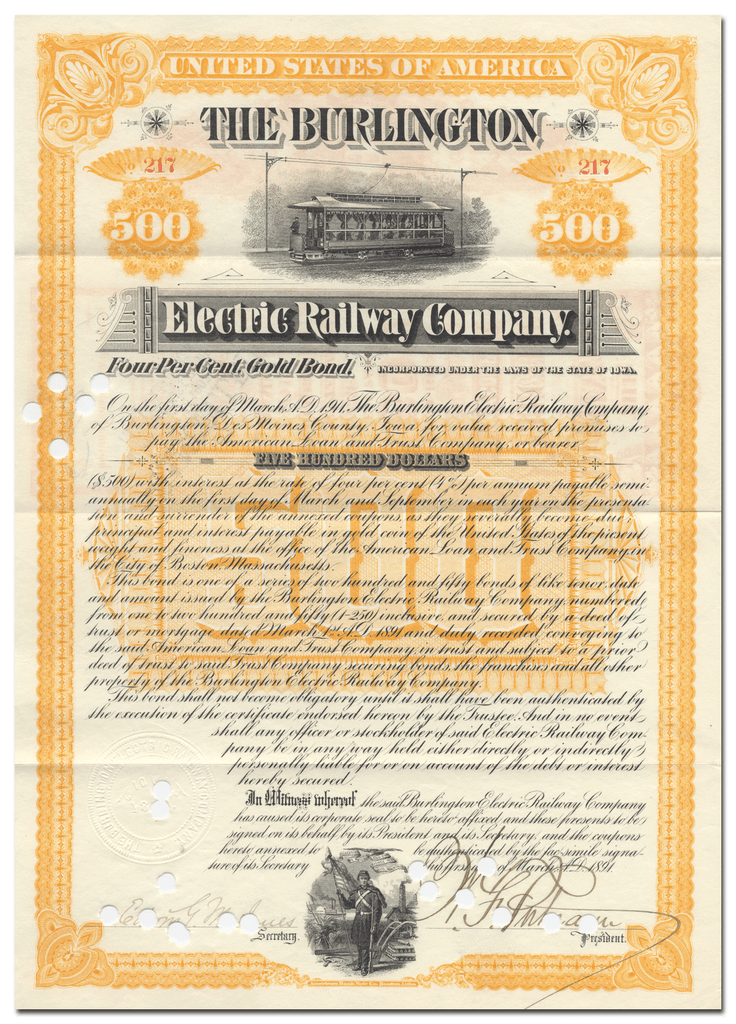 Burlington Electric Railway Company Bond Certificate